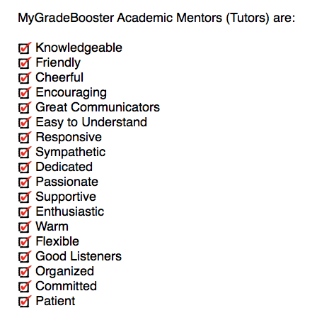 Characteristics of MyGradeBooster tutors in Vancouver, with each tutor possessing key skills