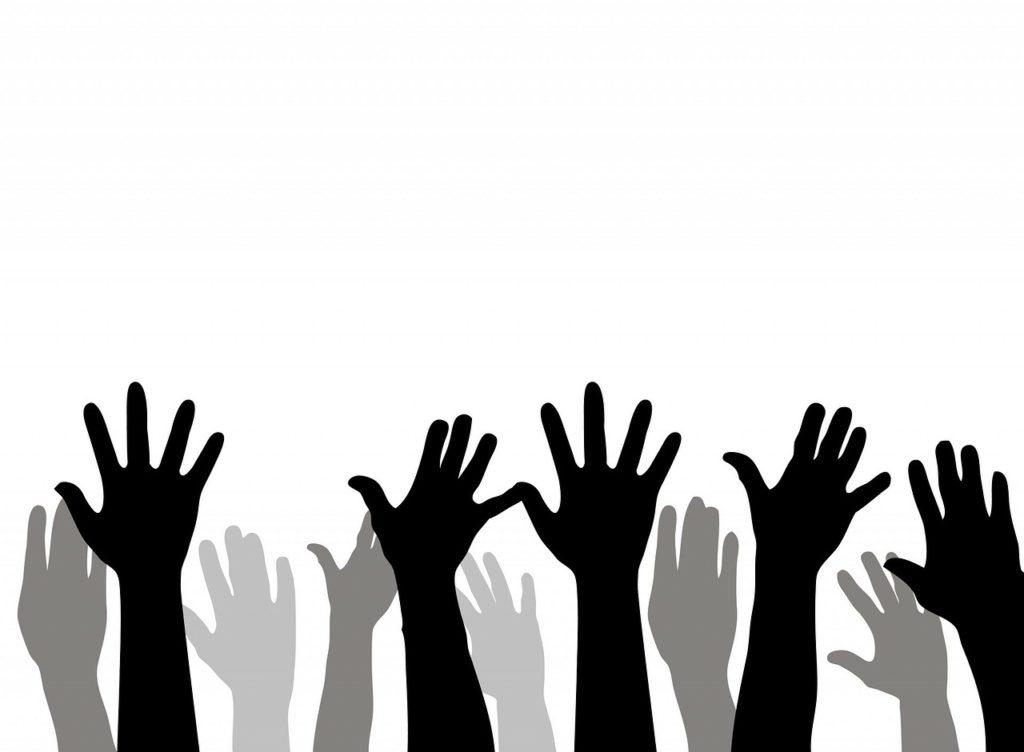hand raise in school classroom